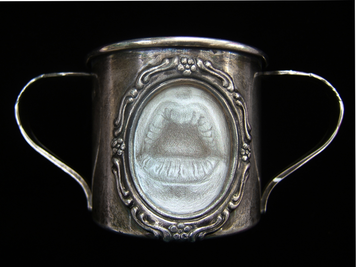 """Memento Innocenti 2011, tarnished silverpoint on found cup, 2.25 x 5 x 2.75"""""""